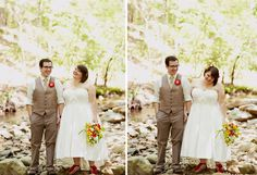 yay!  a beautiful plus sized bride - but click through to see this cute wedding (raccoon are involved!)