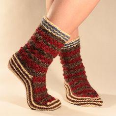 Women's Hand Knit Wool Sock Warm Bulgarian Slipper by BlocSocks
