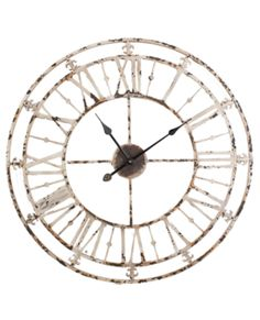 Allissias Attic Design & Vintage French Style — Large Roman Numeral Distressed Metal Wall Clock