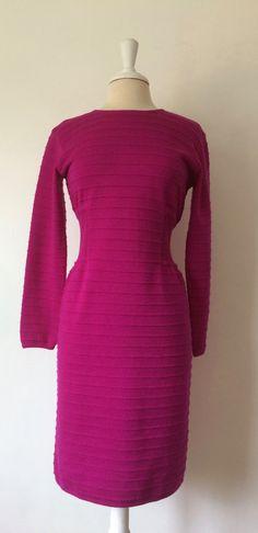 Adrienne Vittadini Fuchsia fitted ribbed long sleeve wool dress size medium