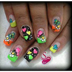 Uñas Creative Nail Designs, Short Nail Designs, Beautiful Nail Designs, Creative Nails, Nail Art Designs, Spring Nails, Summer Nails, Ruby Nails, Natural Acrylic Nails