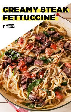 Creamy Steak Fettuccine Is Crazy Addictive Recipes For Leftover Steak, Swiss Steak Recipes, Steak Dinner Recipes, Steak Dinner Sides, Easy Steak Recipes, Leftovers Recipes, Meat Recipes, Cooking Recipes, Fettuccine Recipes