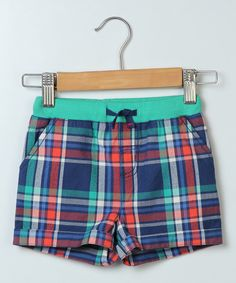 Blue & Turquoise Plaid Shorts - Infant Toddler & Boys