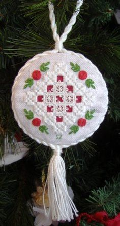 Hardanger embroidery lace ornament.