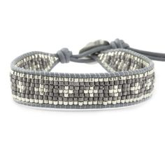 Grey Mix Single Wrap Bracelet on Iceberg Leather
