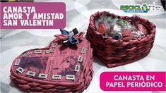 #DIY CANASTA CORAZÓN EN PAPEL PERIÓDICO - BASKET PAPER HEART IN NEWSPAPER