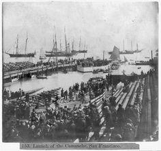 A crowd gathers to watch the launch of the USS Camanche in 1864. The monitor ship was prefabricated in New Jersey and sent around Cape Horn to San Francisco. It was reassembled and launched on Nov. 14, 1864 as the Civil War was winding down.The Camanche was the only American ironclad in the Pacific for decades until it was purchased and repurposed to haul coal in 1899. Photo: Library Of Congress/Courtesy