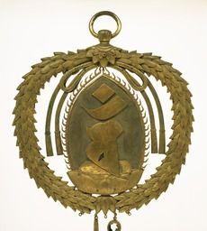 Keman, Pendant Ornament in Buddhist Sanctuary, Gilt bronze, gold plated, Kamakura period/13th-14th century  Formerly kept in Hyozutaisha-shrine, Shiga  Nara National Museum. Keman (an ornament for a Buddhist ritual article)