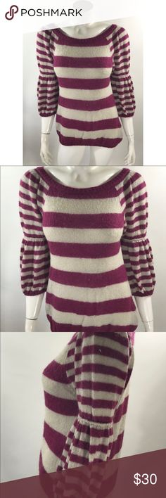 United Colors Benetton Sweater Small Purple Gray United Colors of Benetton Sweater Small Purple Gray Bubble Sleeve Mohair Blend. Measurements: (in inches) Underarm to underarm: 18 Length: 25  Good, gently used condition United Colors Of Benetton Sweaters