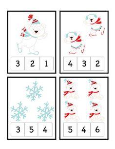 Polar Bear Number Cards 1-12 Clothespin Activity
