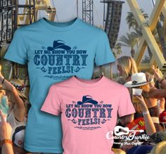 How Country Feels T-Shirt Pink or Light Blue at Cowgirl Blondie's Dumb Blonde Boutique