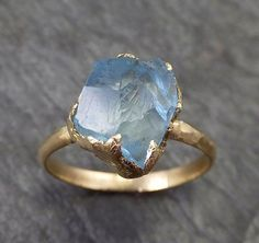 Raw Uncut Aquamarine Solitaire Ring Wedding Ring Custom One Of a Kind Gemstone Ring Bespoke Three stone Ring byAngeline 0273