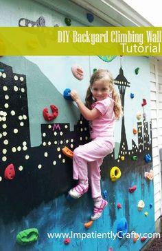 diy tutorial backyard climbing wall kids atomik                                                                                                                                                      More