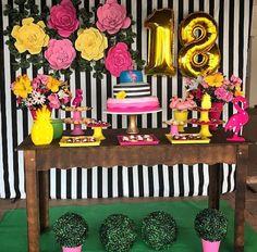 los 18 de mi vicky Paris Birthday, 13th Birthday Parties, Birthday Party Themes, Flamenco Party, Kate Spade Party, Flamingo Birthday, Diy Birthday Decorations, Tropical Party, Luau Party