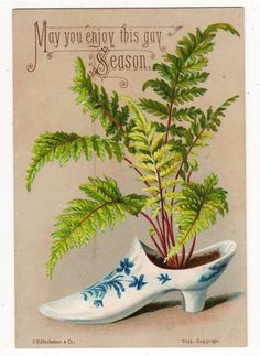 DELIGHTFUL VICTORIAN XMAS CARD,CHINA SHOE WITH FERN, S HILDESHEIMER, c1880s | eBay
