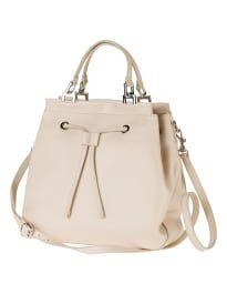 Schlichte Handtasche aus echtem Leder mit Henkeln und abnehmbarem Schulterriemen