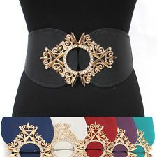 classy Women Elastic Waist Wide Belt Stretch Circle Gold Metal Hook Rhinestone