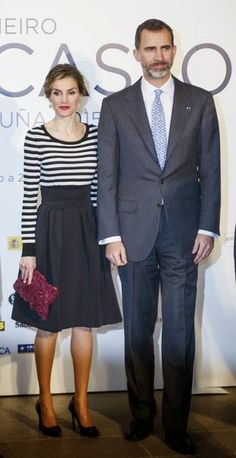 King Felipe VI and Queen Letizia attended the inauguration of the 'The First Picasso' exhibition at the 'Museo de Belas Artes A Coruna' on February 19, 2015 in A Coruna