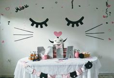 Kitty cat party - fiesta gatuna ideas - Tap the link now to see all of our cool cat collections! Girl Birthday Themes, Cat Birthday, 2nd Birthday Parties, Birthday Ideas, Cat Themed Parties, Slumber Parties, Kitty Party, Hello Kitty Bedroom, Party Fiesta