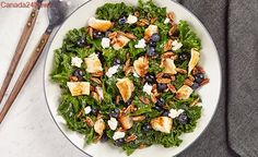 Kale Chicken Salad with Goat Cheese and Blueberries
