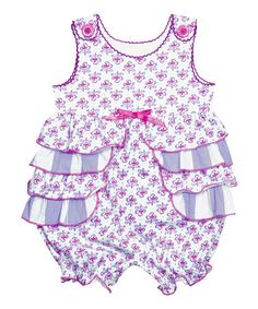 3 day SALE by Candy Bean — up to 65% off Purple Floral Ruffle Bubble Romper - Infant $16.99 Reg. $60.00