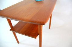 Solid Teak Two-Tiered Side/End Table - Two Available