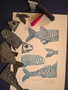 Cut up lino shapes to create fun images.