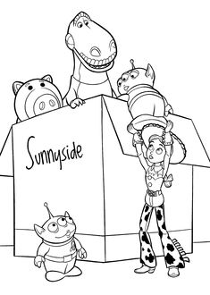 Toy for attic coloring pages for kids, printable free - Toy story