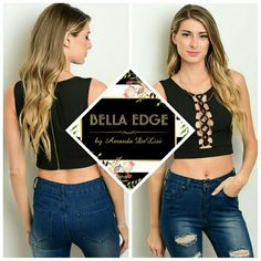 Black lace up crop top 98% POLYESTER, 2% SPANDEX. This sleeveless crop top features a laceup detail on center front, a round neckline and a fitted silhouette. Sizes small to large. Bella Edge Boutique  Tops Crop Tops