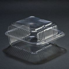 """Durable Packaging PXT-600 Duralock 6"""" x 6"""" x 3"""" Clear Hinged Lid Plastic Container - 500 / Case"""