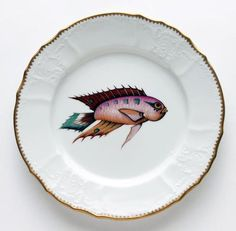 Antique Fish Orange/Lavender/Aqua Dinner Plate by Anna Weatherley