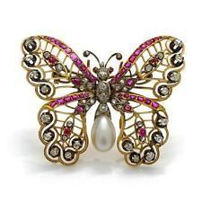 Victorian Diamond Pearl Ruby Openwork 18K Gold Butterfly Brooch Lot 276