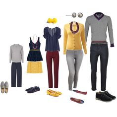 Yellow Maroon Navy and Gray Family Outfits Navy Family Pictures, Winter Family Photos, Large Family Photos, Family Pics, Family Set, Family Portrait Outfits, Fall Family Photo Outfits, Family Portraits, Bild Outfits