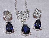 Vintage - Art Deco style - Sapphire and Diamante Paste stones - Necklace and Earrings Set