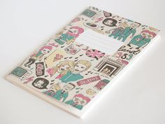 Notebook - England 1989 by @danadamki on Etsy, €3.00 #handmade #illustration #retro #school #notebook #stationery