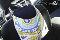 "make a cute trash bag for the car. Actually it doesn't have to be just for trash, any loose items really that you don't like rolling around in the backseat. This is on my ""will make"" list."
