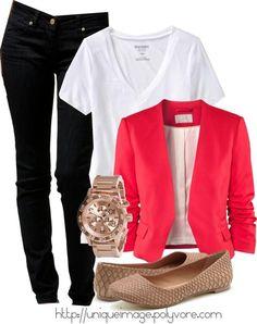 love the casual tshirt underneath a blazer or cardigan