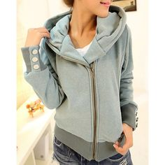 Fashionable Solid Color Long Sleeve Hoodie For Women