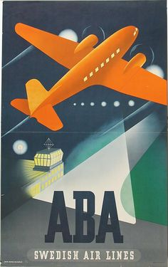 1940s AB Aerotransport (ABA) Swedish airlines ad. #vintage #travel #airlines #Sweden