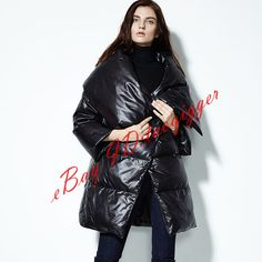 Chic Womens Puff White Duck Down Coat Shiny Trench Long Down Jacket Parkas Vogue