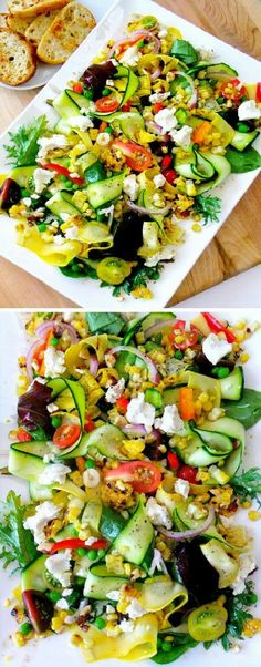 Salad with ribbons of green and yellow squash, red onion, banana peppers, sweet tomatoes, spring greens, feta cheese and a light, herbed, oil and vinegar dressing  (photo sourced from internet; photographer unknown)