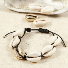 A braided Bracelet or Ankle Chain with Sea Shells Braided Bracelets, Jewelry Bracelets, Lace Bracelet, Ankle Chain, Macrame Cord, Sea Shells, Jewerly, Two By Two, Stuff To Buy