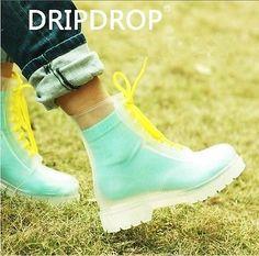 Fashion Jelly Boots Crystal Transparent Martin Boots Rainboots Women/Children