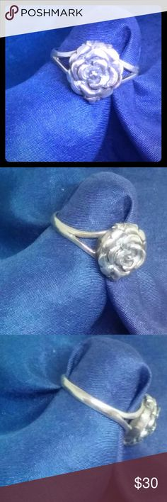 Sterling Silver Rose Flower Ring Beautifully detailed rose blossom in 925 sterling silver. Solid silver not plated. About size 6. Jewelry Rings