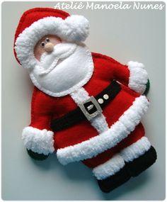 Enfeite de Porta e Aplique de Papai Noel com Saquinho de Feltro de Presentes.