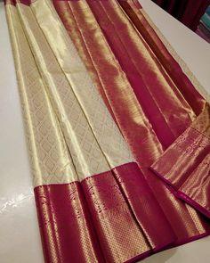 Kanjivaram Sarees Silk, Indian Silk Sarees, Pure Silk Sarees, Indian Gowns, Indian Wear, Cotton Saree Blouse, Silk Saree Blouse Designs, Gold Silk Saree, Blue Saree
