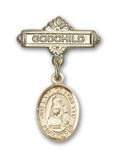 ReligiousObsession's Gold Filled Baby Badge with Our Lady of Loretto Charm and Godchild Badge Pin -- To view further for this item, visit the image link.