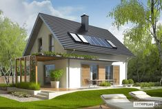 Projekt domu AC Lea (wersja B) CE - DOM - gotowy koszt budowy Facade Design, Exterior Design, House Design, Modern House Plans, Small House Plans, Danish House, Beautiful Modern Homes, Architectural Design House Plans, Cottage Style Homes