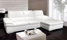 This gorgeous and modern full leather sectional will set the stage for any living room! Eclectic Style, Eclectic Decor, Leather L Shaped Couch, Leather Living Room Furniture, Leather Sectional, White Leather, Decorating Your Home, Sofas, Modern