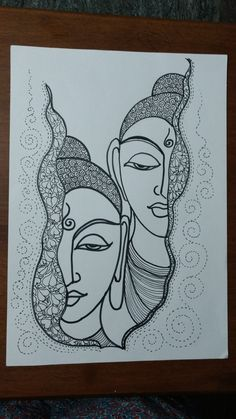 Buddha Drawing, Doodle Art Drawing, Buddha Painting, Buddha Art, Zentangle Drawings, Mandala Drawing, Pencil Art Drawings, Art Drawings Sketches, Madhubani Art
